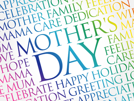Mothers Day word cloud, care, love, family, motherhood concept  イラスト・ベクター素材