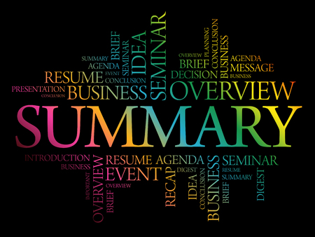 Summary word cloud collage, business concept background  イラスト・ベクター素材