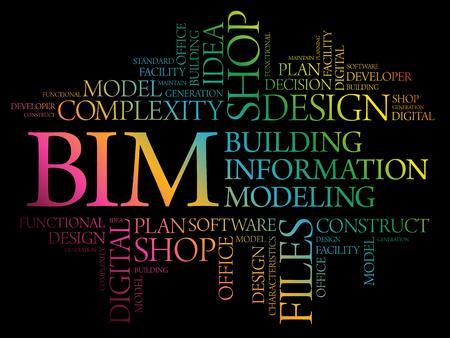 BIM - Nuage de mot de modélisation des informations du bâtiment, concept d'entreprise