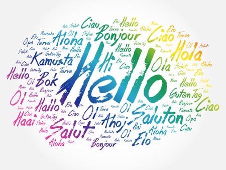 Hallo Wortwolke in verschiedenen Sprachen der Welt, Hintergrundkonzept Vektorgrafik