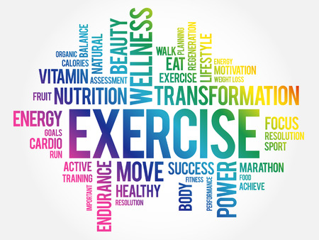 EXERCISE word cloud, fitness, sport, health concept Standard-Bild - 109771035