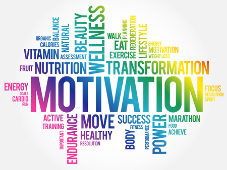 MOTIVATION word cloud collage, health concept background