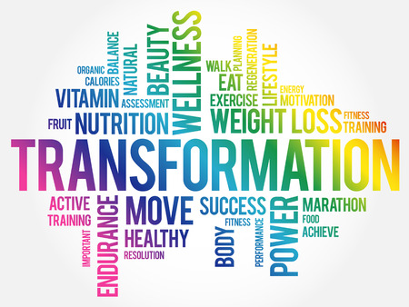 TRANSFORMATION word cloud, fitness, sport, health concept 일러스트