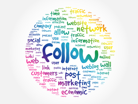 Follow word cloud collage, business concept background Stock Illustratie
