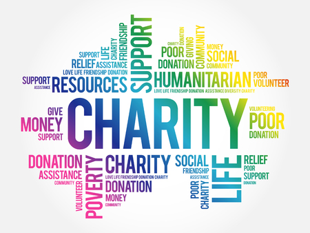 Charity word cloud collage, business concept background 向量圖像