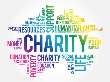Charity word cloud collage, business concept background Illusztráció