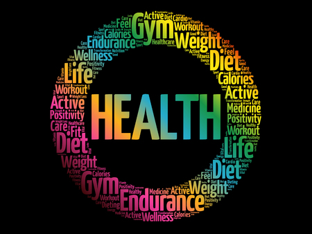 HEALTH circle word cloud, fitness, sport, health concept
