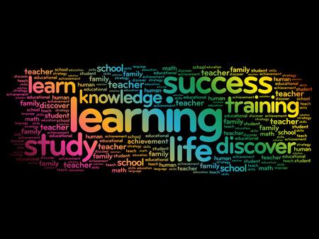 Aprendizaje palabra nube collage, concepto de negocio de fondo Ilustración de vector