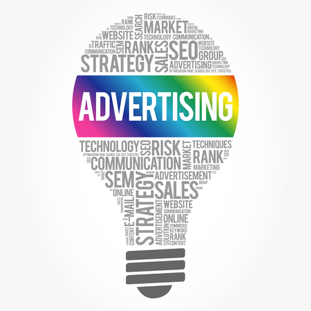 ADVERTISING bulb word cloud, business concept