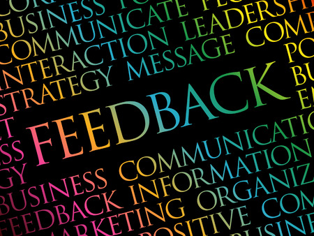 Feedback word cloud collage, business concept background