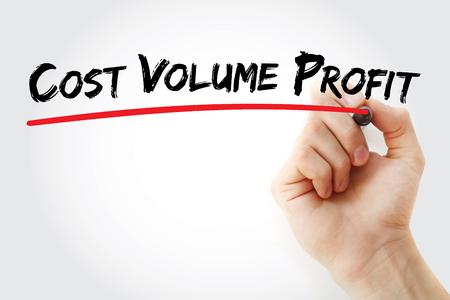 CVP – Abkürzung für Cost Volume Profit, Hintergrund des Geschäftskonzepts Standard-Bild