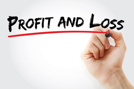 P&L - Profit and Loss acronym, business concept background Stock Photo