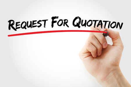 RFQ - Request For Quotation acronym, business concept background Stockfoto