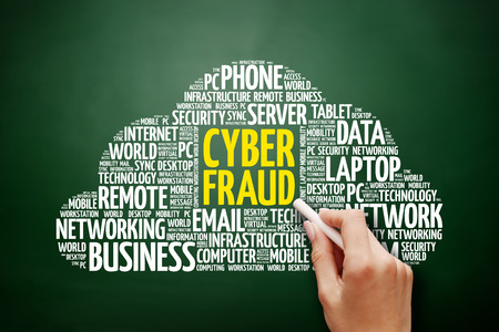 Cyber Fraud word cloud collage, technology business concept on blackboard