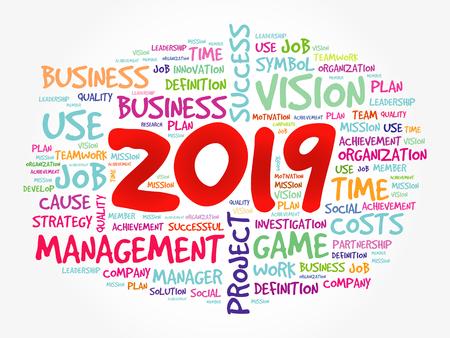 2019 Goals word cloud collage, business concept background Illustration