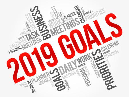 Fondo di concetto di affari della nuvola di parola di 2019 obiettivi