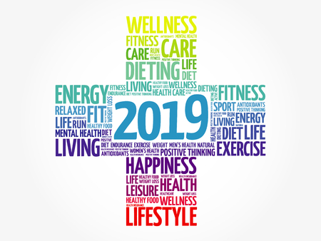 2019 Goals Health word cloud, health cross concept