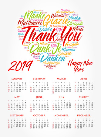 Calendar for 2019 year, Thank You word cloud in different languages, concept background Stock Vector - 112233359