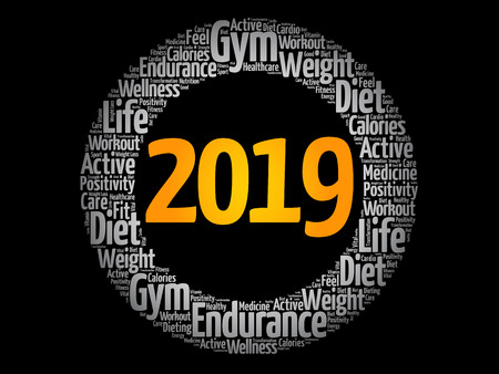 2019 health and sport goals word cloud, concept background