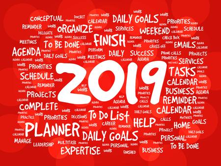 2019 Goals word cloud business concept background