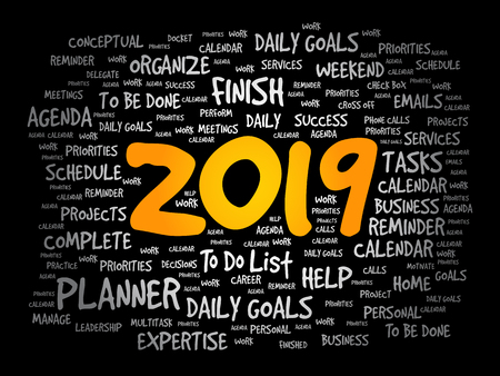 2019 Goals word cloud business concept background