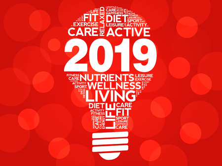 2019 health goals bulb word cloud, health concept background
