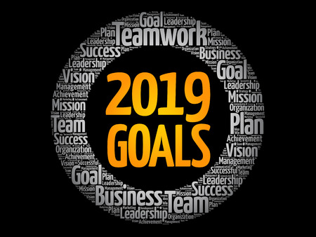 2019 Goals word cloud collage, business concept background Ilustrace