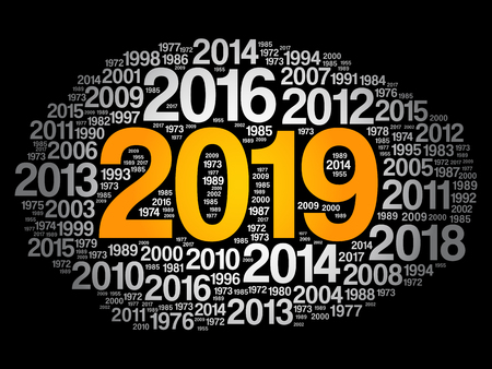 2019 Happy New Year and previous years word cloud collage Иллюстрация