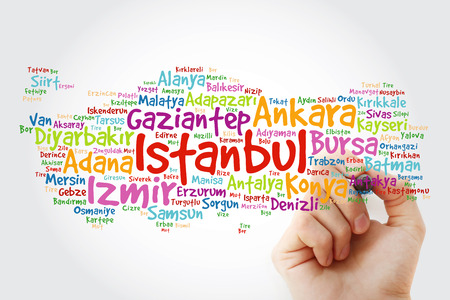 List of cities in Turkey word cloud map with marker, business and travel concept background Stock Photo