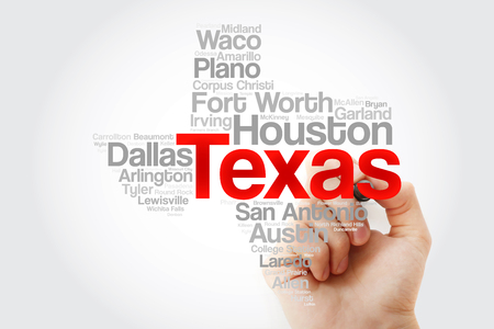 List of cities in Texas USA state word cloud map with marker, concept background Stock Photo