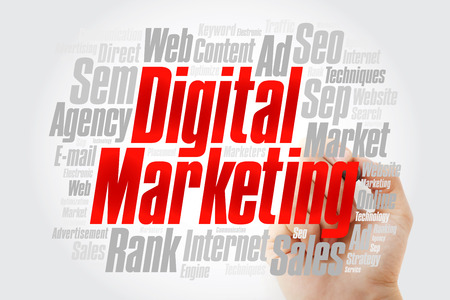 Digital Marketing word cloud collage with marker, business concept background