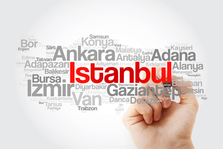 List of cities in Turkey word cloud map, business and travel concept background
