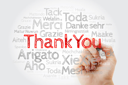 Thank You Word Cloud in all languages with marker, concept background Stock Photo
