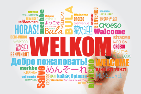 Welkom (Welcome in Afrikaans) word cloud with marker in different languages, conceptual background