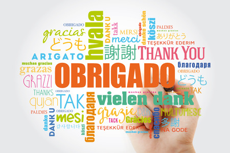 Obrigado (Thank You in Portuguese) Word Cloud with marker, all languages