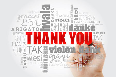 Thank You Word Cloud in all languages with marker, concept background Stok Fotoğraf