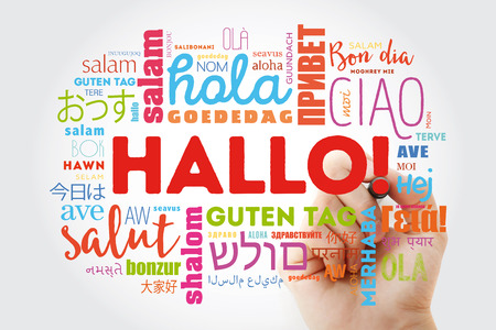 Hallo (Hello Greeting in German) word cloud in different languages of the world, background concept Stok Fotoğraf