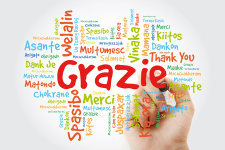 Grazie (Thank You in Italian) Word Cloud with marker, all languages