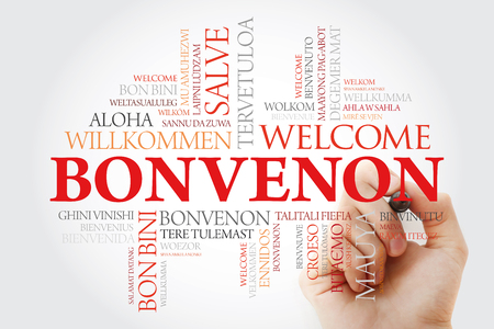 Bonvenon (Welcome in Esperanto) word cloud with marker in different languages, conceptual background