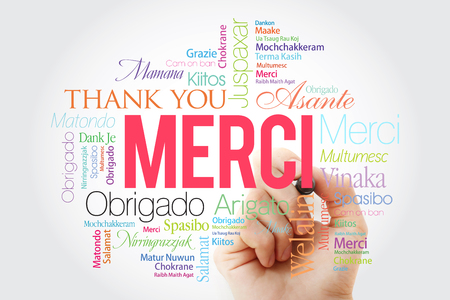 Merci (Thank You in French) Word Cloud with marker, all languages