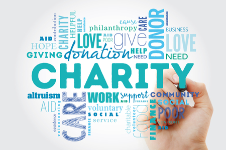 Charity word cloud collage with marker, business concept background