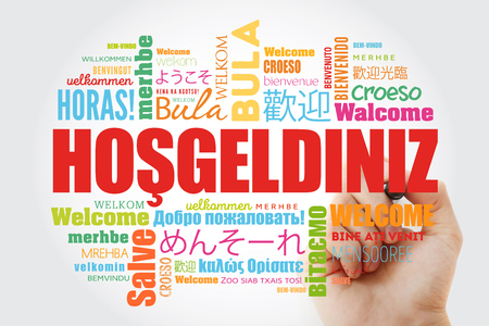 Hosgeldiniz (Welcome in Turkish) word cloud with marker in different languages, conceptual background Banco de Imagens