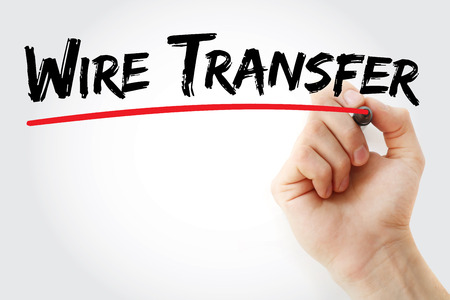 Hand writing Wire transfer with marker, concept background Stockfoto