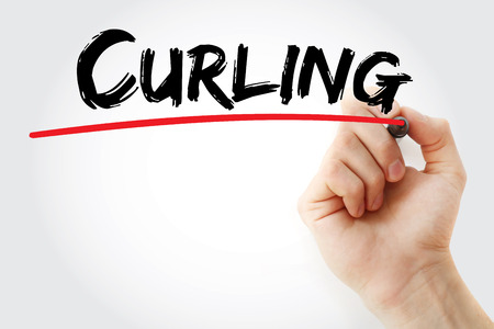 Hand writing Curling with marker, sport concept background