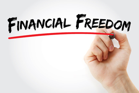 Hand writing Financial freedom with marker, concept background 写真素材