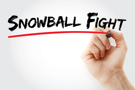 Hand writing Snowball fight with marker, concept background