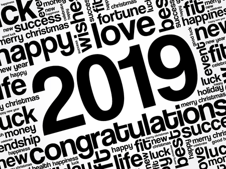 2019 year greeting word cloud collage, Happy New Year celebration greeting card Archivio Fotografico - 127070216