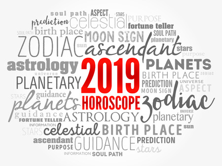 Your 2019 HOROSCOPE word cloud collage, concept background Иллюстрация