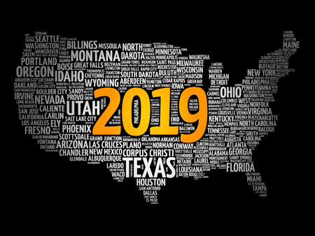 2019 year USA Map word cloud with most important cities