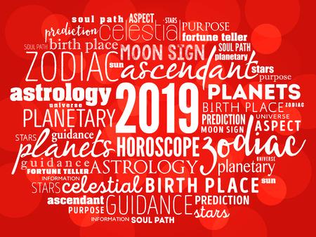 Your 2019 HOROSCOPE word cloud collage, concept background Ilustração
